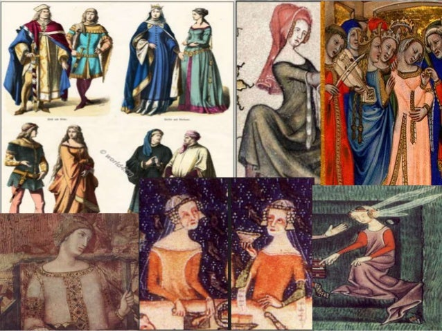 14th century German medieval clothing in the 14th century medieval, byzantine, burgundy, gothic era top row left to right: german princes and knight in burgundian style costumes right: a german princess and precious lady in court costume decorated with zaddeln bottom row left to right: knight and unmarried.