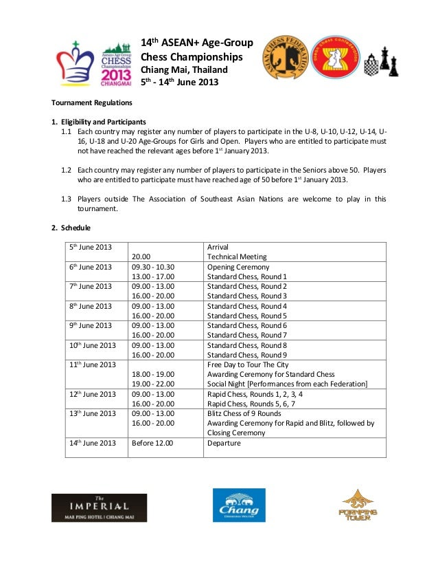 14th ASEAN+ Age-Group                           Chess Championships                           Chiang Mai, Thailand        ...