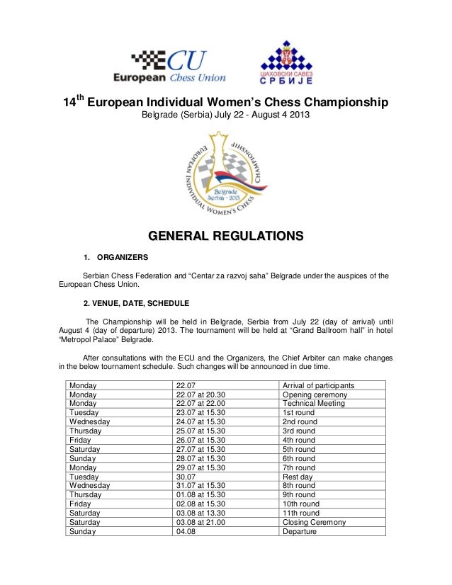 14th European Individual Women's Chess Championship                       Belgrade (Serbia) July 22 - August 4 2013       ...