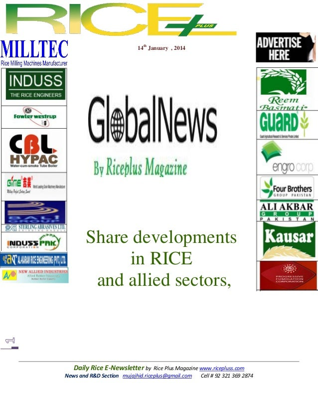 14th January , 2014  Share developments in RICE and allied sectors,  Daily Rice E-Newsletter by Rice Plus Magazine www.ric...