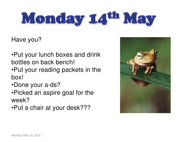 Have you?•Put your lunch boxes and drinkbottles on back bench!•Put your reading packets in thebox!•Done your a-ds?•Picked ...