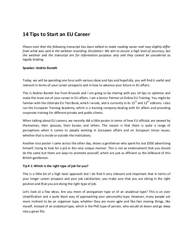 14 tips to start an eu career