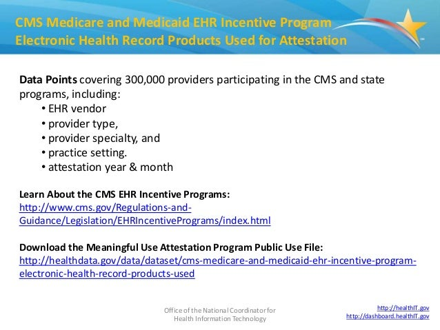 Office of the National Coordinator for Health Information Technology 1 CMS Medicare and Medicaid EHR Incentive Program Ele...