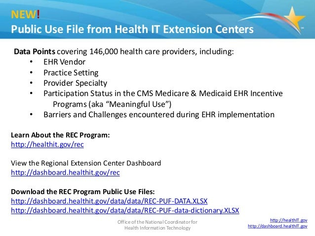 Office of the National Coordinator for Health Information Technology 2 NEW! Public Use File from Health IT Extension Cente...