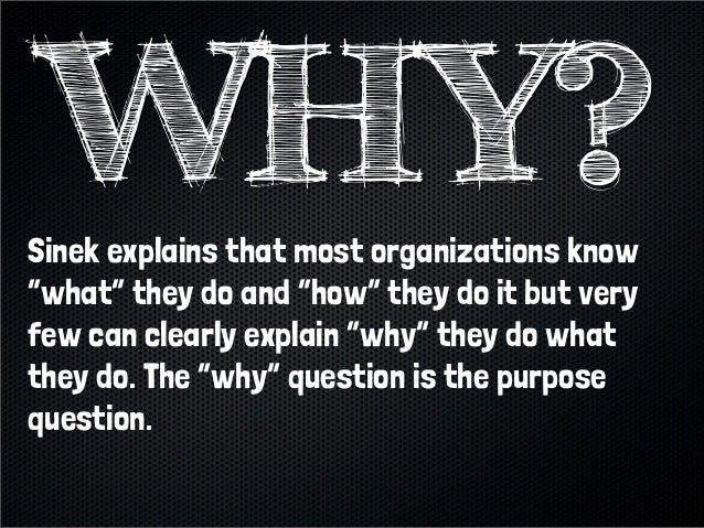"Sinek explains that most organizations know""what"" they do and ""how"" they do it but veryfew can clearly explain ""why"" they ..."
