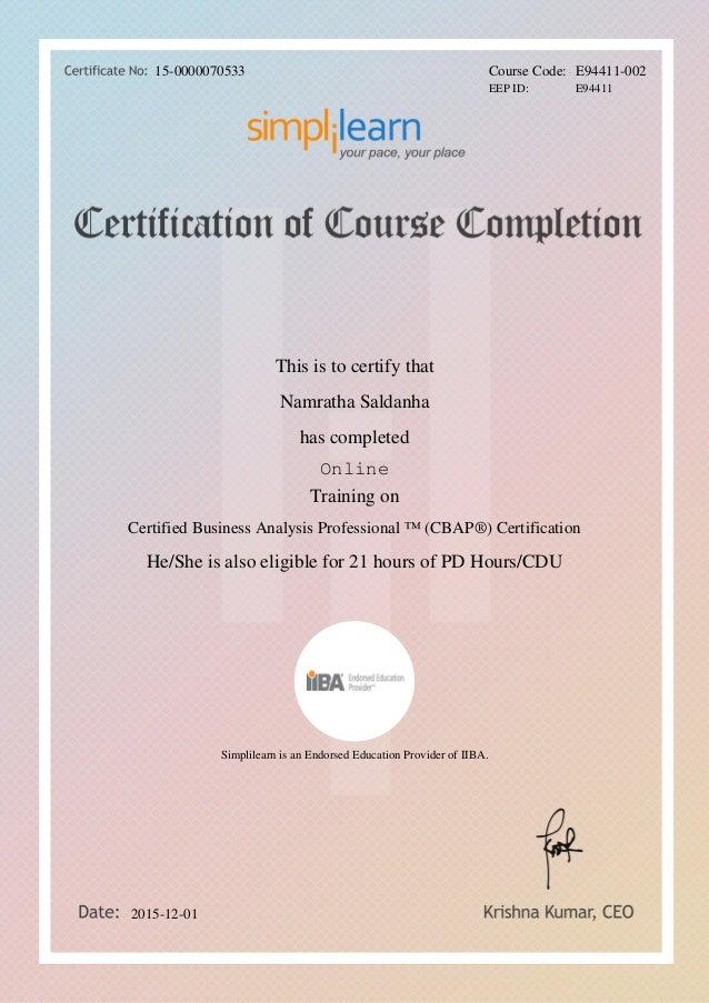 Certified Business Analysis Professional Iiba