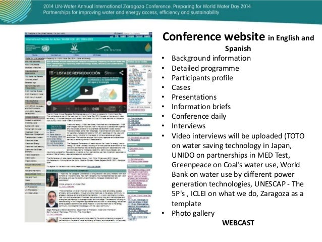 Conference website in English and • • • • • • • • •  •  Spanish Background information Detailed programme Participants pro...