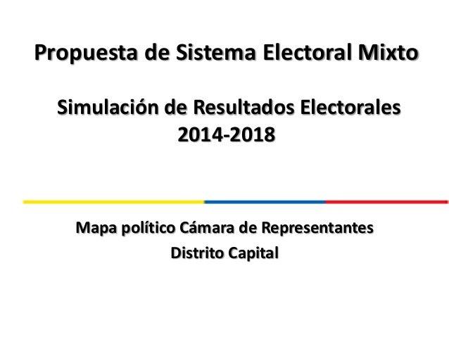 Propuesta de Sistema Electoral Mixto Simulación de Resultados Electorales 2014-2018 Mapa político Cámara de Representantes...