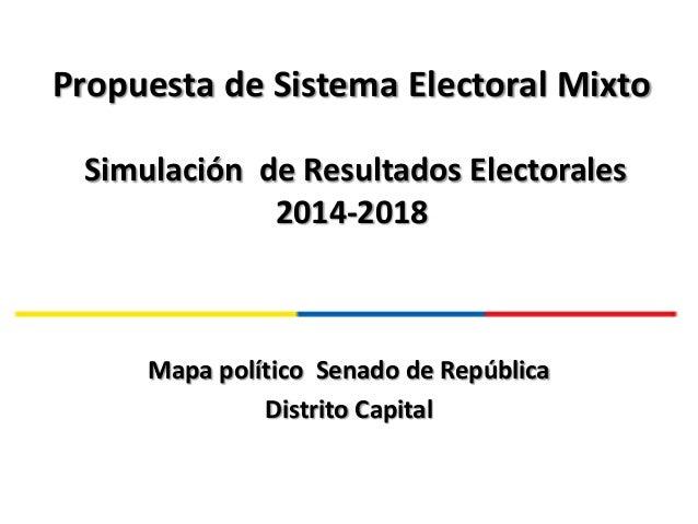 Propuesta de Sistema Electoral Mixto Simulación de Resultados Electorales 2014-2018 Mapa político Senado de República Dist...