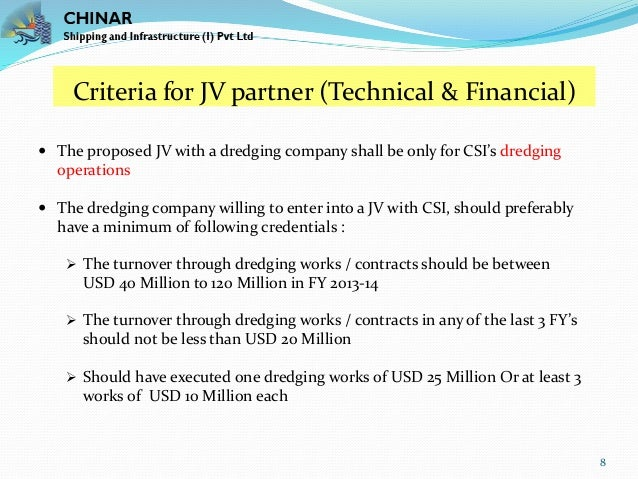 Joint Venture Proposal for Dredging Works in India