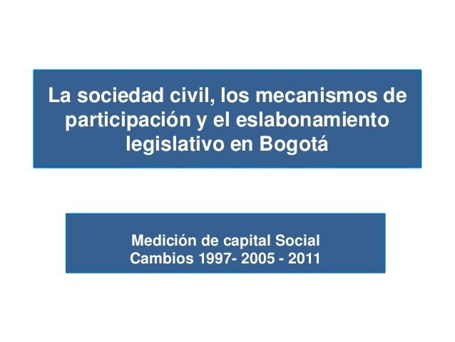La sociedad civil, los mecanismos de participación y el eslabonamiento legislativo en Bogotá Medición de capital Social Ca...