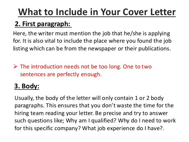 body of cover letters