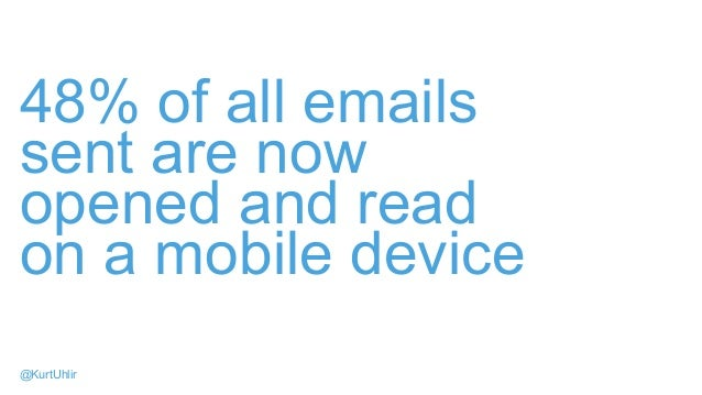 48% of all emails sent are now opened and read on a mobile device @KurtUhlir