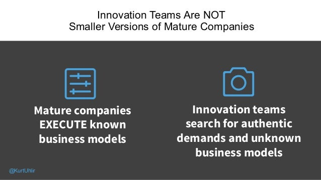 Innovation Teams Are NOT Smaller Versions of Mature Companies 07 Mature companies EXECUTE known business models Innovation...