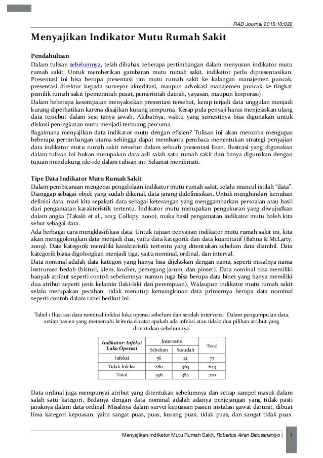 RAD Journal 2015:10:022 Menyajikan Indikator Mutu Rumah Sakit, Robertus Arian Datusanantyo   1 Menyajikan  Indikator  ...