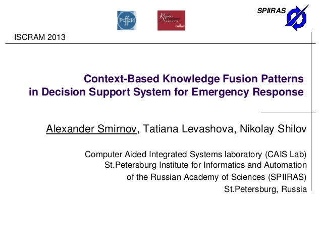 SPIIRASContext-Based Knowledge Fusion Patternsin Decision Support System for Emergency ResponseAlexander Smirnov, Tatiana ...