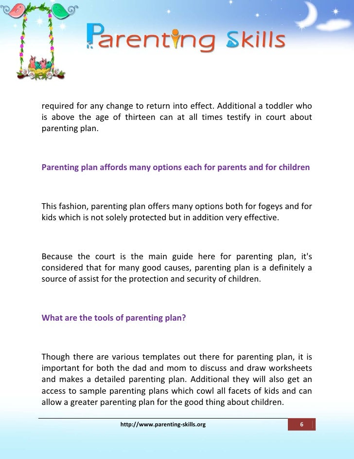 Parenting Plan Should Handle All Of The Important Points Associated W – Parenting Worksheets