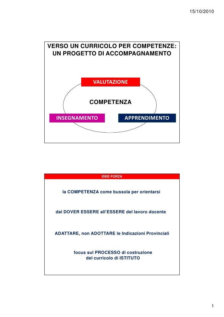 15/10/2010     VERSO UN CURRICOLO PER COMPETENZE:  UN PROGETTO DI ACCOMPAGNAMENTO                     VALUTAZIONE         ...