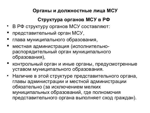 Актуальные проблемы местного самоуправления в современной России Органы