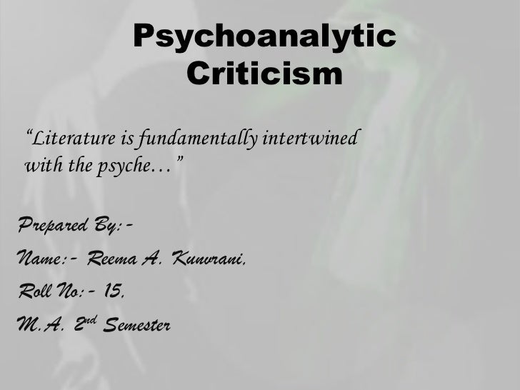 psychoanalytic theory in literature