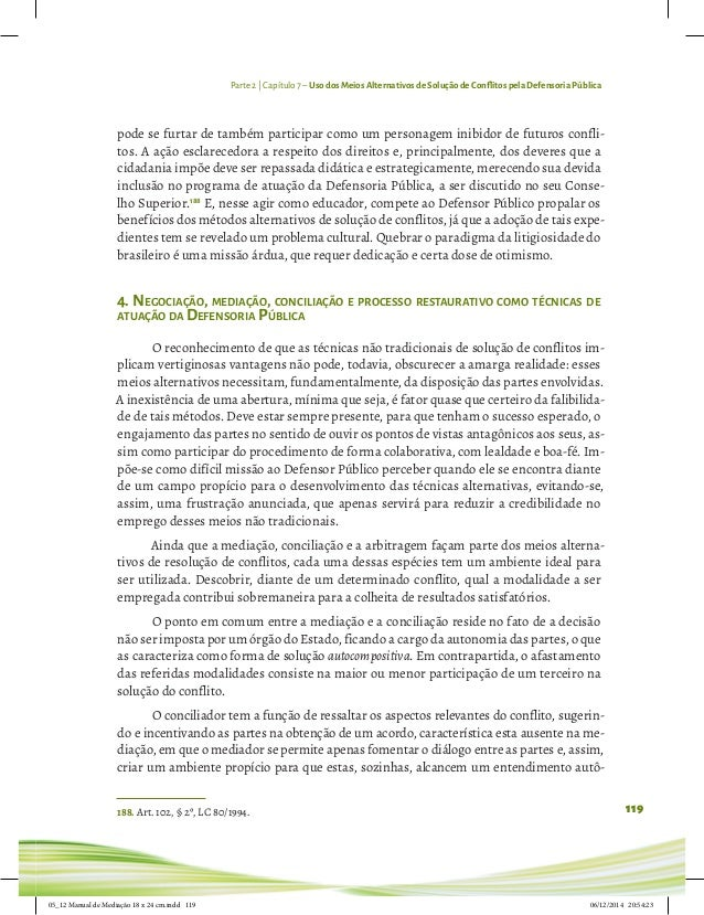 Manual de Mediação e Conciliação para Defensoria Pública