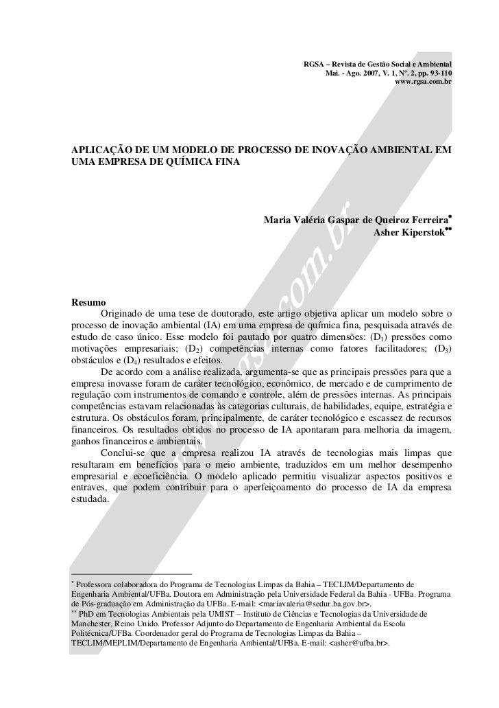 RGSA – Revista de Gestão Social e Ambiental                                                                   Mai. - Ago. ...