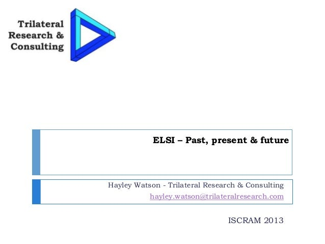 ELSI – Past, present & future Hayley Watson - Trilateral Research & Consulting hayley.watson@trilateralresearch.com ISCRAM...