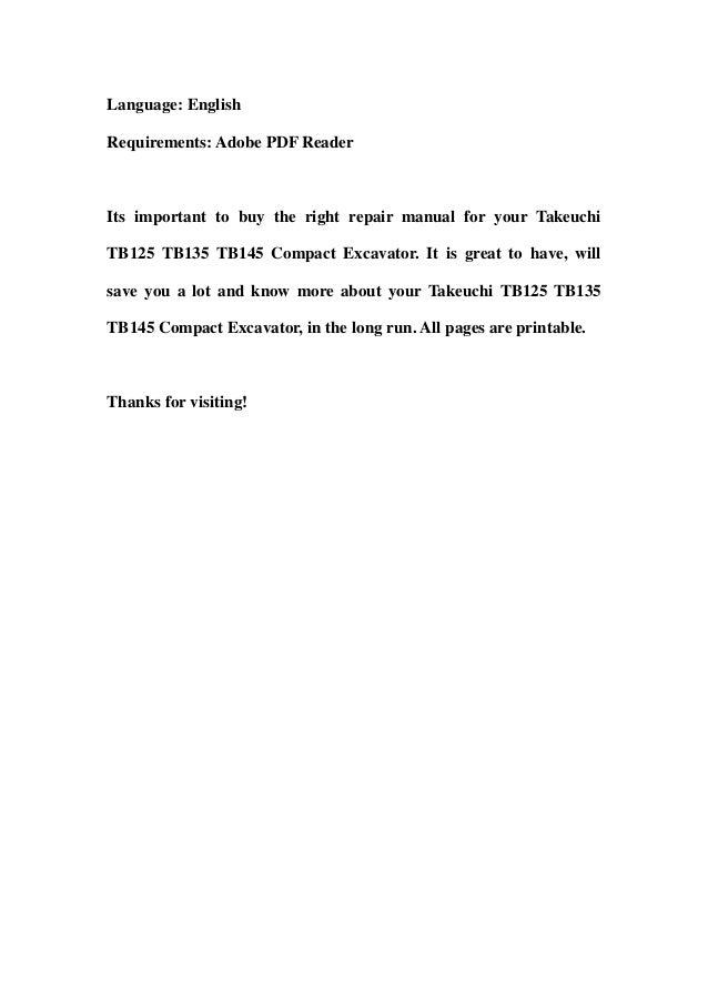 takeuchi tb125 tb135 tb145 compact excavator service repair workshop manual download 3 638?cb=1357580963 takeuchi tb125 tb135 tb145 compact excavator service repair workshop takeuchi tb145 wiring diagram at bakdesigns.co