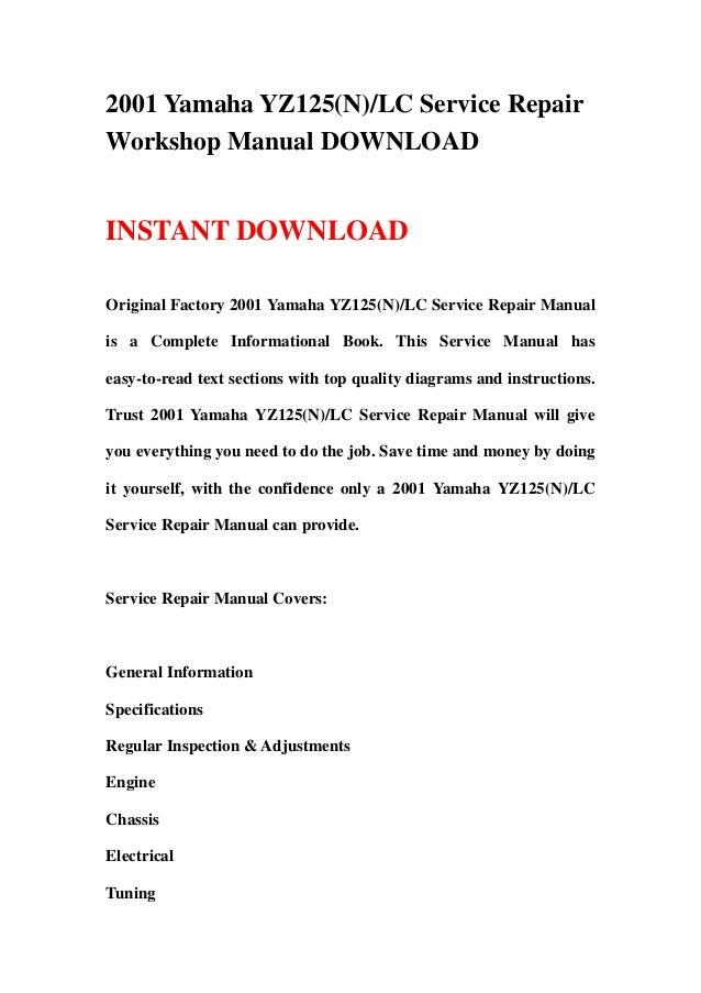 1998-2004 yamaha yz125 online service manual cyclepedia.