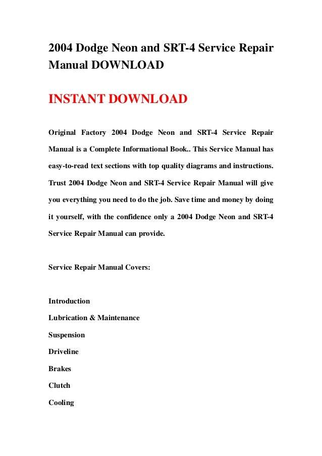 2004 dodge neon and srt 4 service repair manual download rh slideshare net Honda Service Repair Manual Factory Service Repair Manual