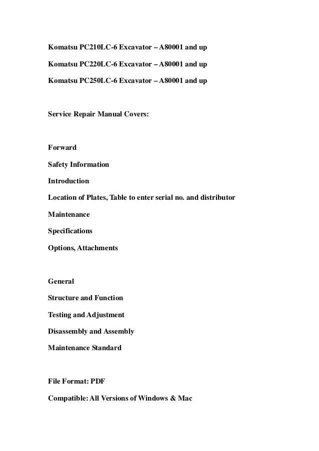 komatsu pc200 6 service manual
