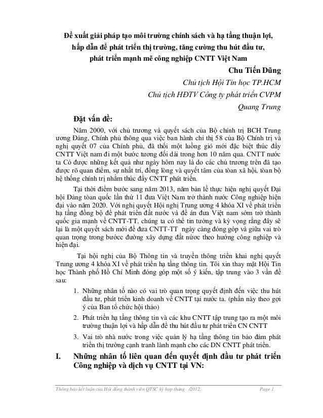 Thông báo kết luận của Hội đồng thành viên QTSC kỳ họp tháng /2012. Page 1 Đề xuất giải pháp tạo môi trường chính sách và ...