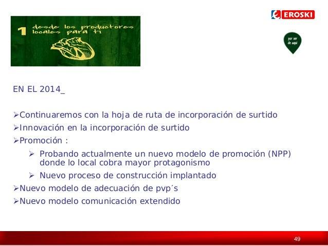 EN EL 2014_ Continuaremos con la hoja de ruta de incorporación de surtido Innovación en la incorporación de surtido Pro...