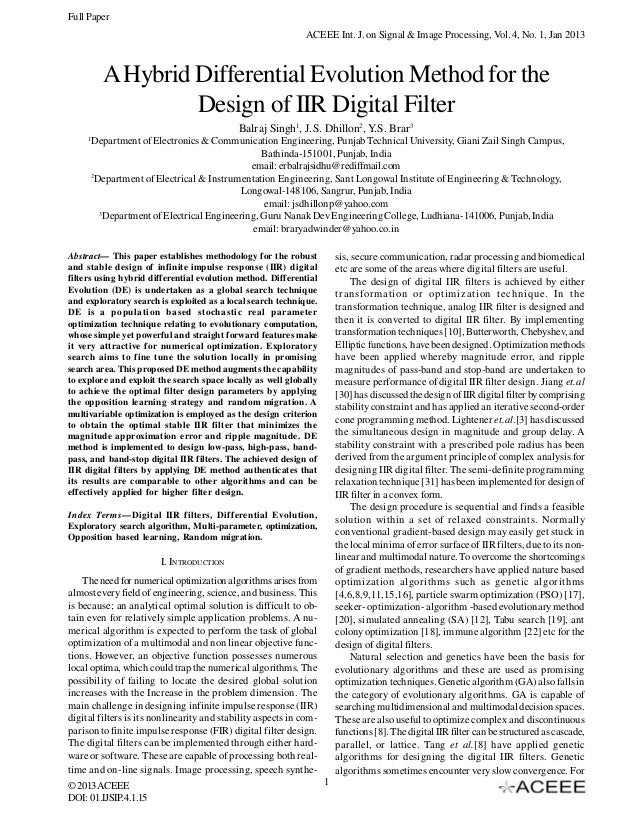 Full Paper ACEEE Int. J. on Signal & Image Processing, Vol. 4, No. 1, Jan 2013  A Hybrid Differential Evolution Method for...