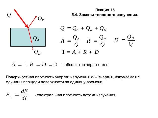 Q  QR  Лекция 15 5.4. Законы теплового излучения.  Q = QA + QR + QD QA QD A =1 R =D =0  QA QR A = R = Q Q 1=A + R + D  D =...