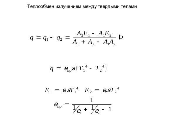 Теплообмен излучением между твердыми телами  A2E 1 - A1E 2 q = q1 - q2 = Þ A1 + A2 - A1A2  q = eпрs ( T 14 - T 2 4 ) E 1 =...