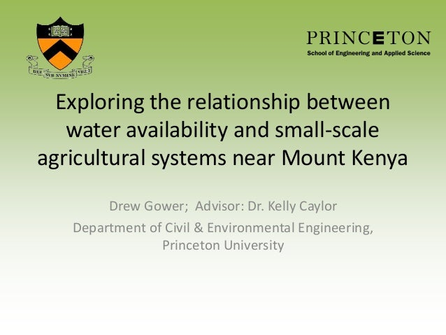 Exploring the relationship between water availability and small-scale agricultural systems near Mount Kenya Drew Gower; Ad...