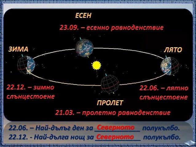 1. Кои са двете движения, които извършва Земята?  Земята се върти около оста си.  Земята обикаля около Слънцето.  1. _____...