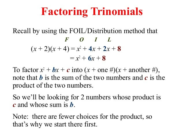 15.2 Factoring X2+bx+c