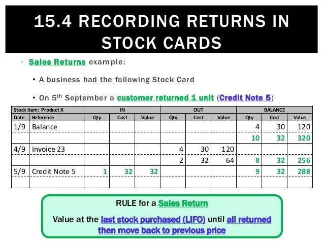 15.4 Recording returns in Stock Cards