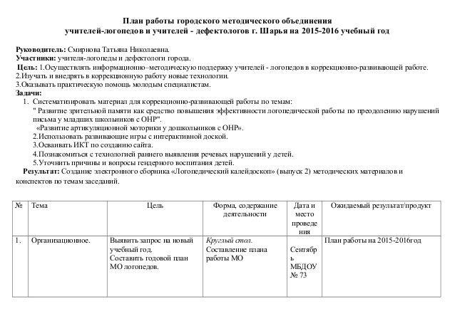 План методобъединений в доу на 2015-16г
