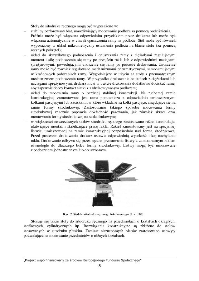 Dodatkowe 15.Eksploatowanie maszyn do drukowania sitowego KA39