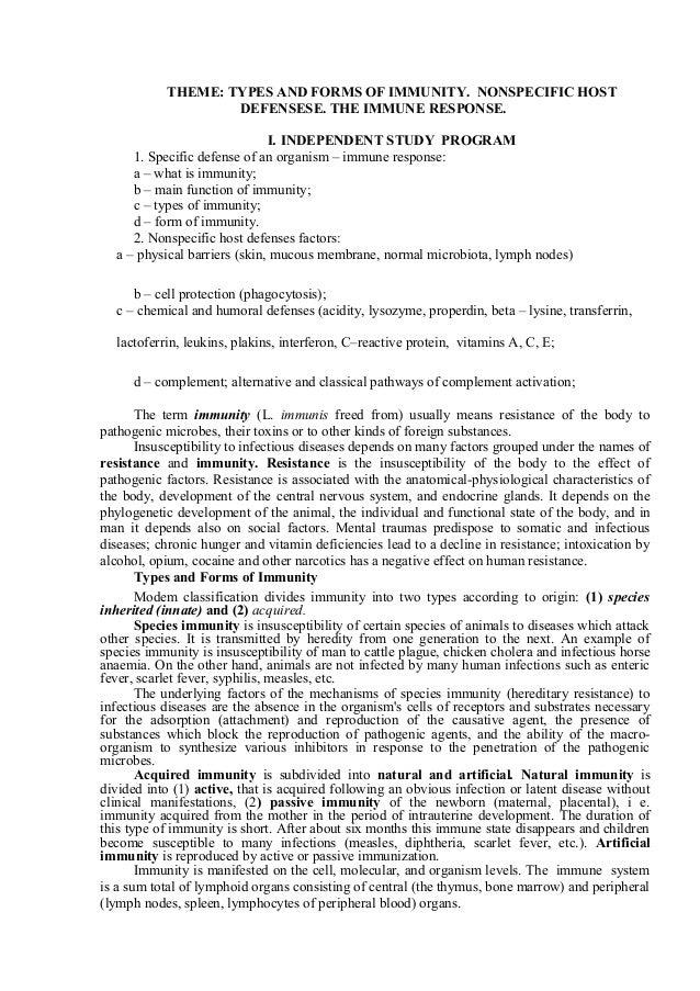 Non Specific Host Defenses The Immune Response