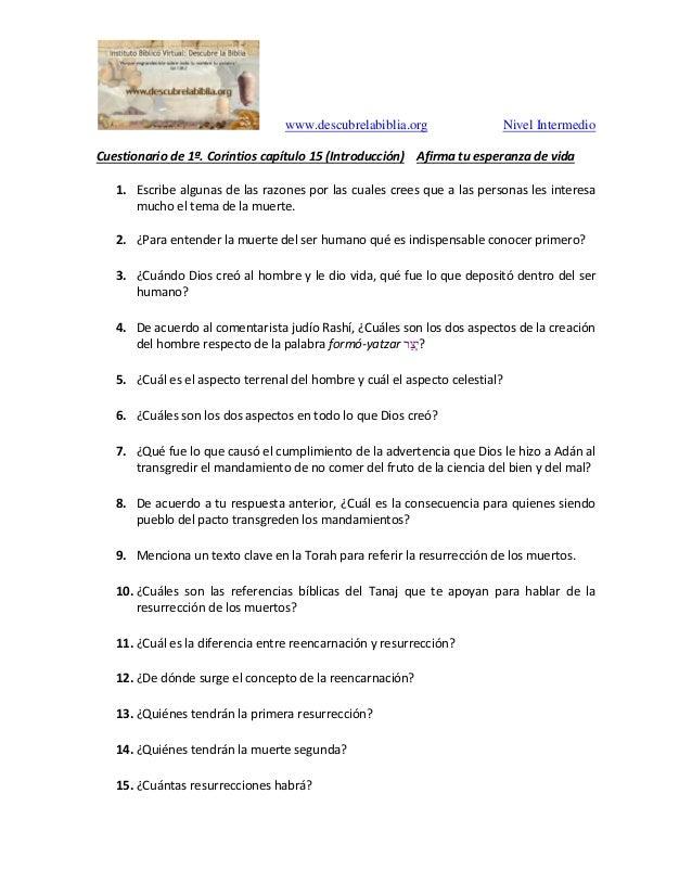 www.descubrelabiblia.org Nivel Intermedio Cuestionario de 1ª. Corintios capítulo 15 (Introducción) Afirma tu esperanza de ...