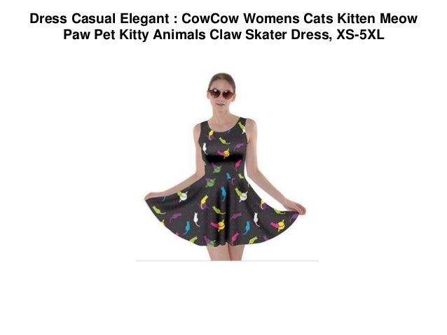 Dress Casual Elegant Cowcow Womens Cats Kitten Meow Paw Pet Kitty A