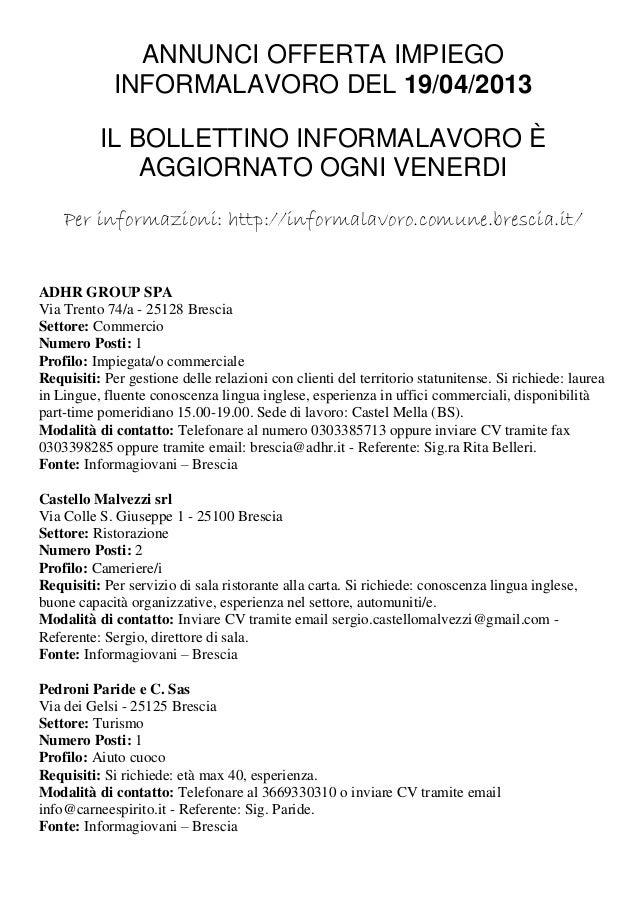 ANNUNCI OFFERTA IMPIEGO             INFORMALAVORO DEL 19/04/2013          IL BOLLETTINO INFORMALAVORO È              AGGIO...