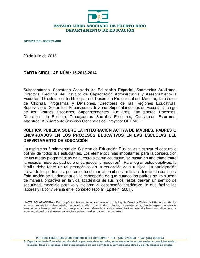 Carta circular 15 2013 2014 padres o encargados for Que oficina de empleo me corresponde