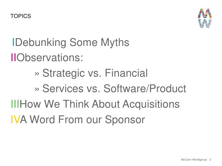 The Other Side of M&A: A View From The Agency's Perspective Slide 2