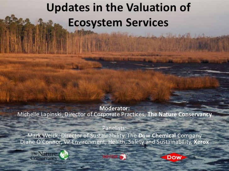Updates in the Valuation of              Ecosystem Services                                 Moderator:Michelle Lapinski, D...