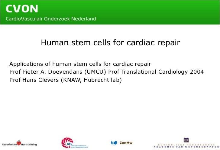 Human stem cells for cardiac repair<br />Applications of human stem cellsforcardiacrepair<br />Prof Pieter A. Doevendans (...
